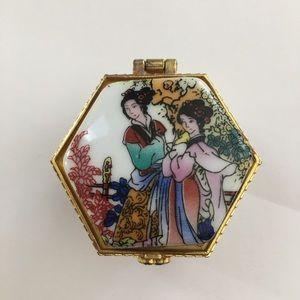 Vintage porcelain gold plated pillbox